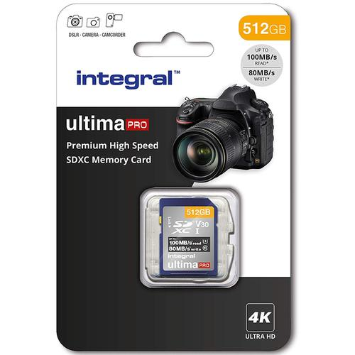 Integral 512GB Ultima PRO Premium SD Card SDXC V30 UHS-I U3 - 100MB/s