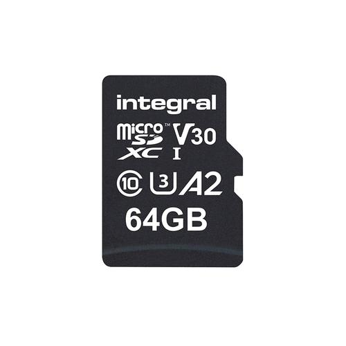Integral 64GB UltimaPRO A2 V30 High Speed Micro SD Card (SDXC) UHS-I U3 + Adapter - 180MB/s