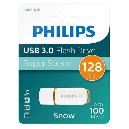 Philips 128GB Snow USB 3.0 Flash Drive 100MB/s - Orange