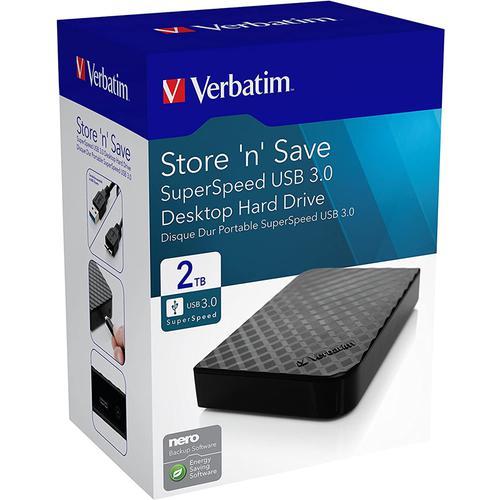"Verbatim 2TB Store 'n' Save 3.5"" Gen2 USB 3.0 External Hard Drive - Black"
