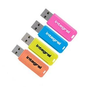 Integral 16GB Neon USB Flash Drives - 12Mb/s - 4 Pack FFP
