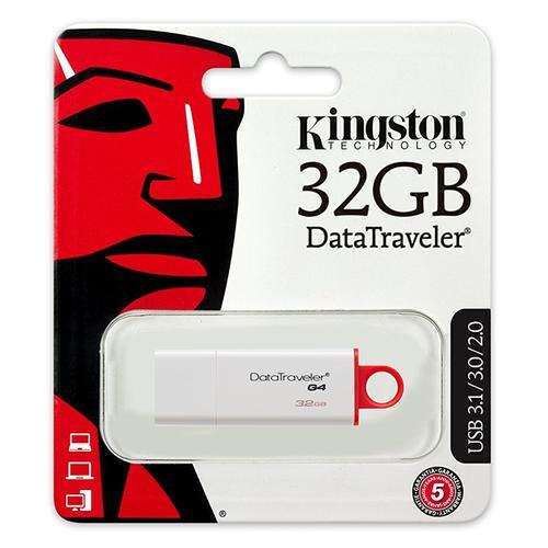 Kingston 32GB DataTraveler G4 USB 3.0 Flash Drive - 32Mb/s - Red