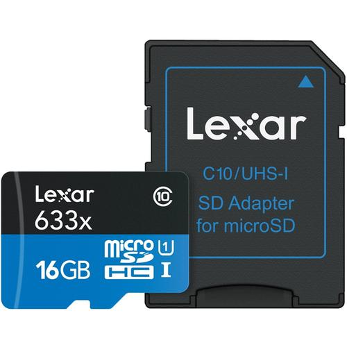 Lexar 16GB High-Performance Micro SD Card (SDHC) + Adapter - 95MB/s