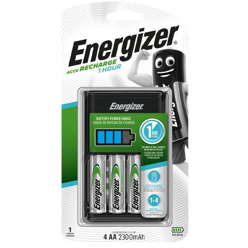 Energizer 1 Hour Battery Charger + 4 x 2300mAh AA Rechargeable Batteries