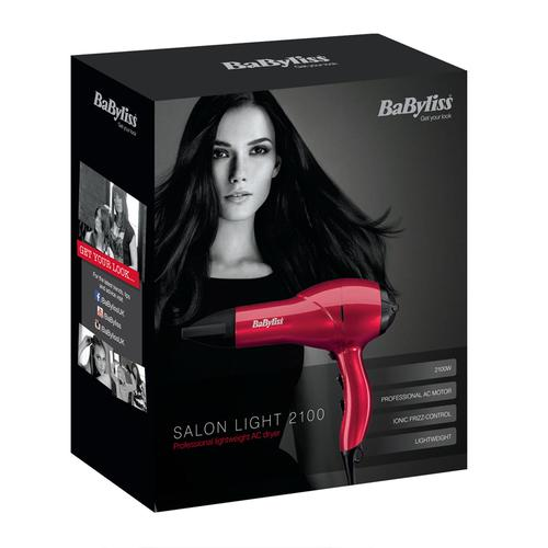 BaByliss Salon Light 2100W Professional Lightweight Hair Dryer - Red