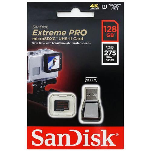 SanDisk 128GB Extreme Pro Micro SD Card (SDXC) UHS-II U3 + USB 3.0 Reader - 275MB/s