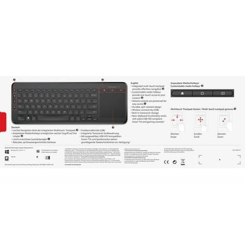 Microsoft All-in-One Media Wireless Keyboard with Track Pad - Monotone
