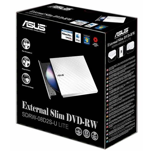 Asus SDRW-08D2S-U LITE External Slim DVD-RW Drive USB 2.0 White