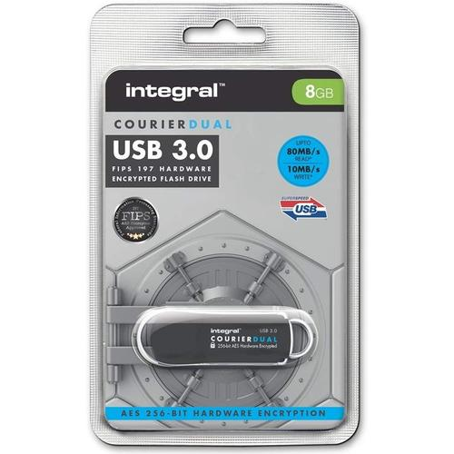 Integral 8GB Courier Dual FIPS 197 Encrypted USB 3.0 Flash Drive - 80MB/s