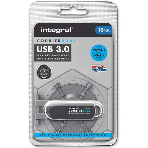 Integral 16GB Courier Dual FIPS 197 Encrypted USB 3.0 Flash Drive - 140MB/s