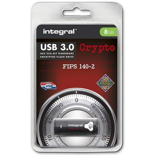 Integral 8GB Crypto FIPS 140-2 Encrypted USB 3.0 Flash Drive - 140MB/s
