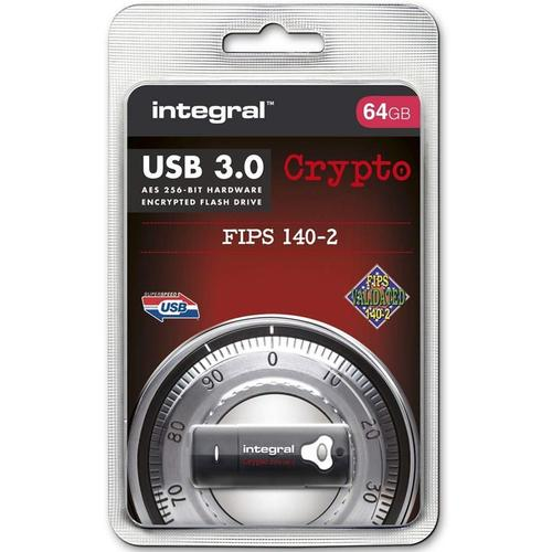 Integral 64GB Crypto FIPS 140-2 Encrypted USB 3.0 Flash Drive - 145MB/s