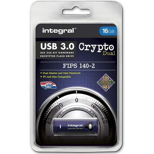 Integral 16GB Crypto Dual FIPS 140-2 Encrypted USB 3.0 Flash Drive - 145MB/s
