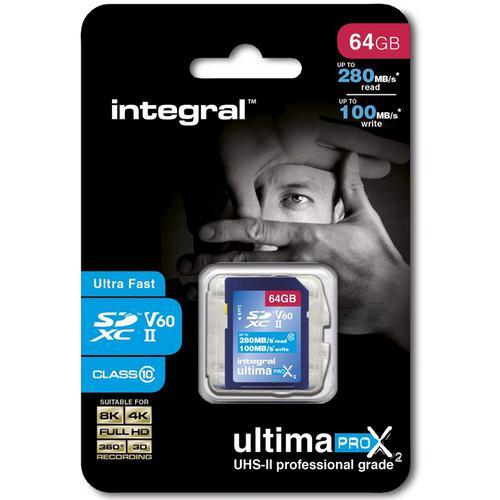 Integral 64GB UltimaPro X2 SD Card SDXC UHS-II U3 V60 8K/4K Full HD - 280MB/s