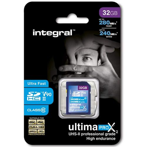 Integral 32GB UltimaPro X2 SD Card SDHC UHS-II U3 V90 - 280MB/s