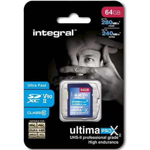 Integral 64GB UltimaPro X2 SD Card SDXC UHS-II U3 V90 - 280MB/s