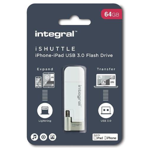 Integral 64GB iShuttle iPhone-iPod USB 3.0 Flash Drive - 60MB/s