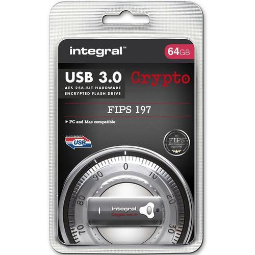 Integral 64GB Crypto FIPS 197 256-Bit AES Hardware Encrypt USB 3.0 Flash Drive - 145MB/s