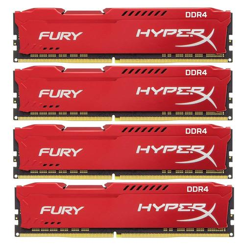 Kingston HyperX FURY Red 32GB (4x8GB) Memory Kit PC4-23400 2933MHz DDR4 CL17 288-Pin DIMM 1.2V