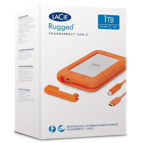 LaCie Rugged Thunderbolt USB-C Port 1TB External SSD - 510 MB/s
