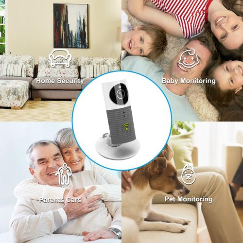 Clever Dog Wireless Smart WiFi Home Security Camera 720p 90° Angle - Grey