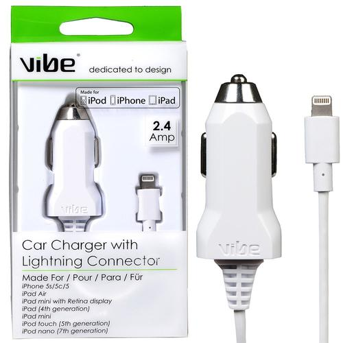 Vibe 2.4A Car Charger + Lightning Cable - White