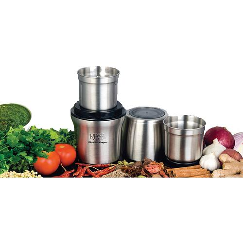 Revel Wet 'N Dry Grinder with Two Separate Bowls - Stainless Steel