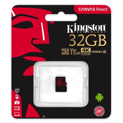 Kingston 32GB Canvas React Micro SD Card (SDHC) UHS-I U3 V30 - 100MB/s