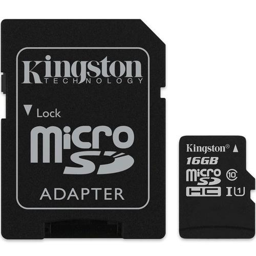Kingston 16GB Canvas Select micro SD Card (SDHC) + SD Adapter - 80MB/s