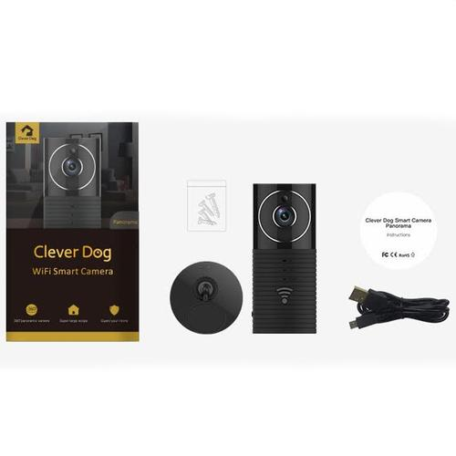 Clever Dog Panorama 180 Grad-Ansicht HD WiFi intelligente Kamera - Schwarz