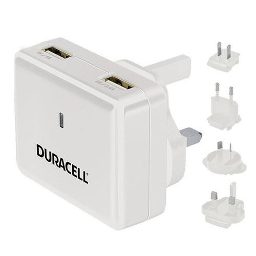 Duracell 2.4A Dual USB Mains Charger - White