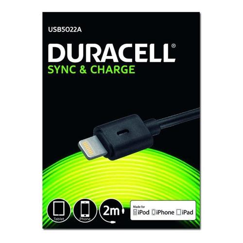 Duracell Sync & Charge Lightning Cable - 2M - Black