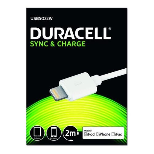 Duracell Sync & Charge Lightning Cable - 2M - White