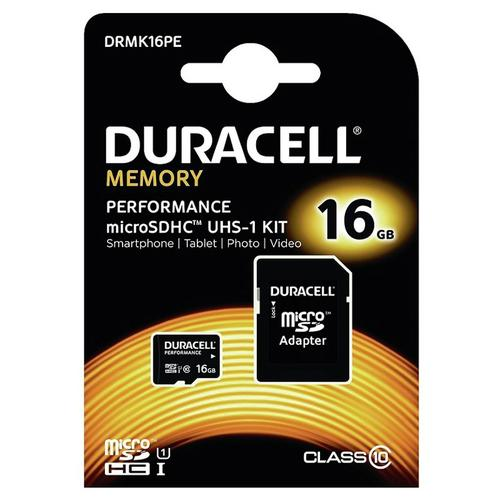 Duracell 16GB Performance Micro SD Karte (SDHC) + Adapter