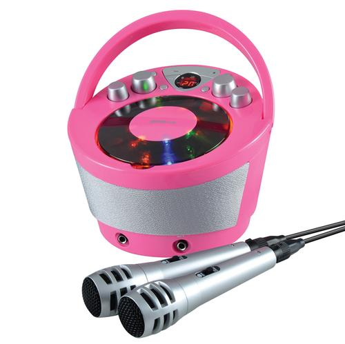 Groov-e Portable Karaoke Boombox with CD Player and Bluetooth Playback - Pink