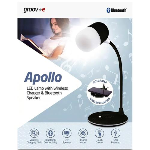 Groov-e Apollo LED Lamp with Wireless Charger and Bluetooth Speaker - Black