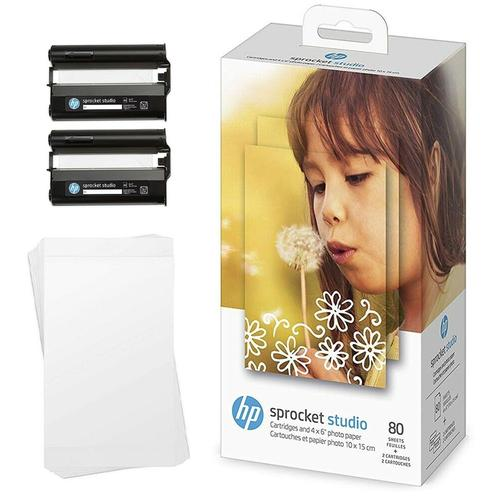 HP Sprocket Studio Ink & Photo Paper 2 Cartridge + 80 Sheets 4x6in/102x152mm