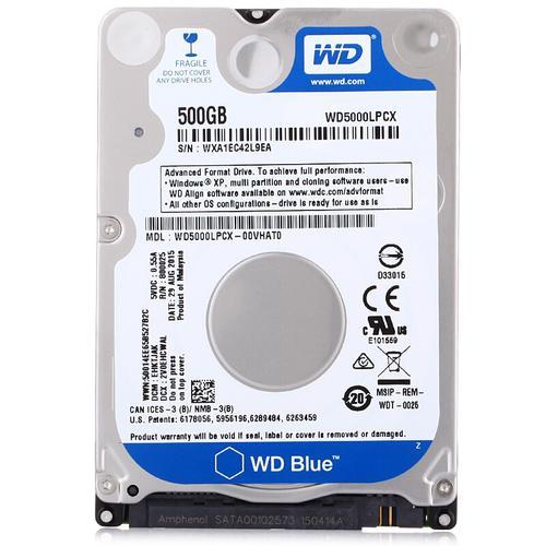 """WD Blue 500GB 2.5"""" SATA Internal HDD 6Gb/s Slim 16MB"""