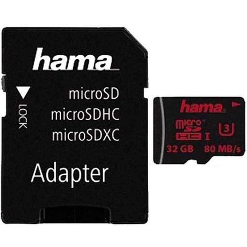 Hama 32GB Micro SDHC UHS Speed Class 3 UHS-I 80MB/s + Adapter