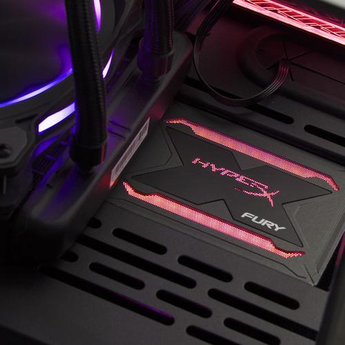"Kingston 480GB HyperX FURY SSD 2.5"" SATA Rev 3 3D NAND RGB Internal SSD - 550MB/s"
