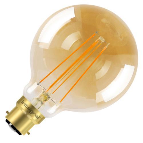 Integral G95 LED Vintage Globe Bulb B22 5W (40W) 1800K (Ultra-Warm) Dimmable Lamp