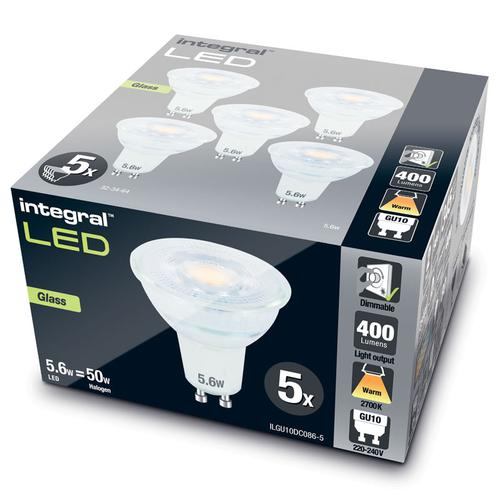 Integral GU10 LED Glass Bulb PAR16 5.6W (50W) 2700K (Warm White) Dimmable Lamp - 5 Pack