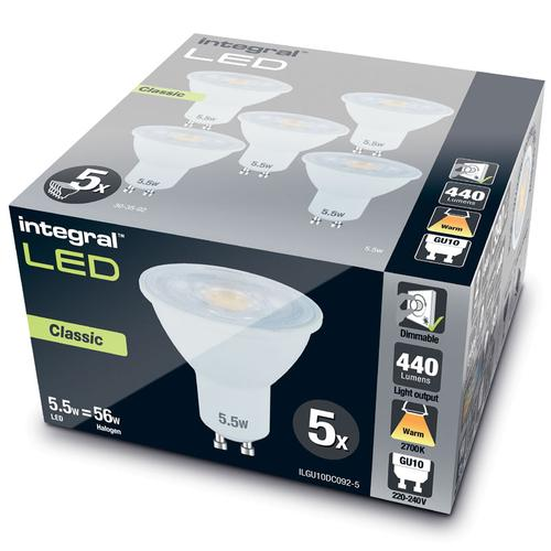 Integral GU10 LED Classic Bulb PAR16 5.5W (56W) 2700K (Warm White) Dimmable Lamp - 5 Pack