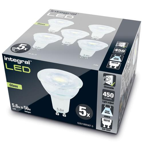 Integral GU10 LED Glass Bulb PAR16 5.6W (56W) 4000K (Cool White) Dimmable Lamp - 5 Pack