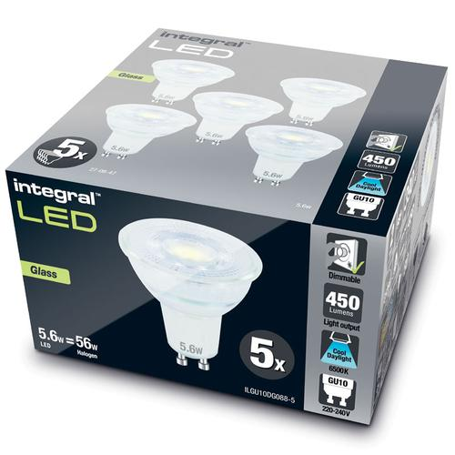 Integral GU10 LED Glass Bulb PAR16 5.6W (56W) 6500K (Cool Daylight) Dimmable Lamp - 5 Pack