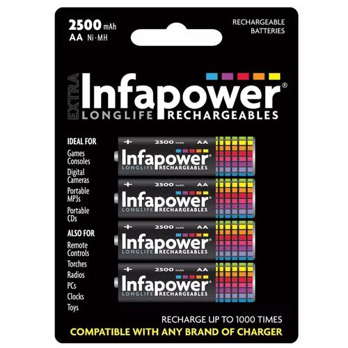 Infapower 2500mAh AA Longlife Rechargeable Batteries - 4 Pack