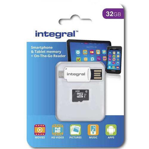 Integral 32GB Micro SD Card (SDHC) + OTG Micro USB Reader - 10MB/s