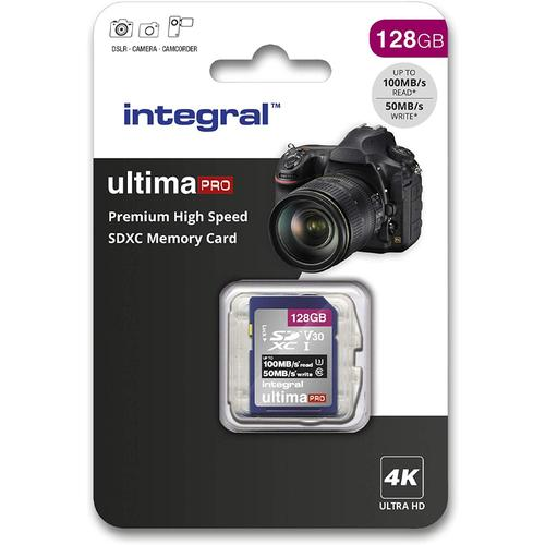 Integral 128GB UltimaPRO V30 Premium SD Card (SDXC) UHS-I U3 - 100MB/s