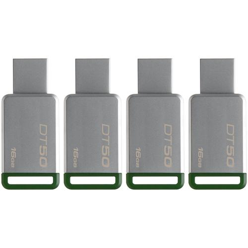 Kingston 16GB DataTraveler DT50 USB 3.0 Drive - 4 Pack FFP