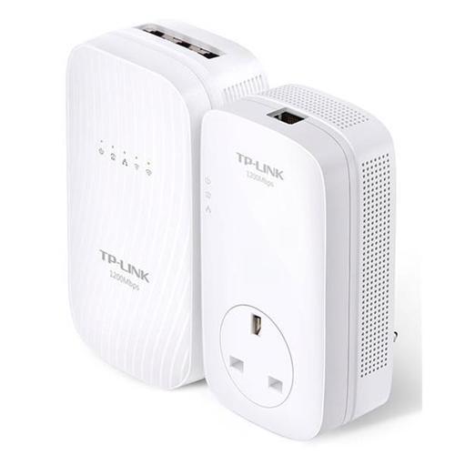 TP-Link AV1200 TL-WPA8730 1300Mbps (5GHz) 450Mbps (2GHz) Gigabit Powerline AC Wi-Fi Kit (White)
